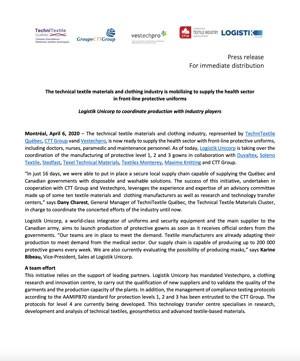 Communiqué de presse: L'industrie des textiles et du vêtement se mobilise pour approvisionner  le secteur de la santé en uniformes de protection de première ligne